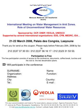 International Meeting on Water Management in Arid Zones.  Role of Unconventional Water Resources