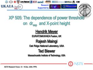 XP 505: The dependence of power threshold on  dr sep   and X-point height