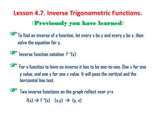 Lesson 4.7. Inverse Trigonometric Functions.