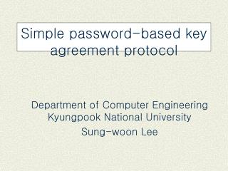 Simple password-based key agreement protocol