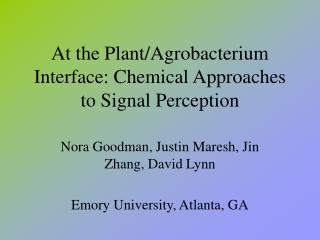 At the Plant/Agrobacterium Interface: Chemical Approaches to Signal Perception