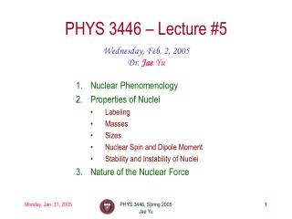 PHYS 3446 – Lecture #5