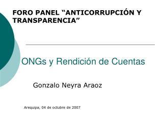 ONGs y Rendici�n de Cuentas