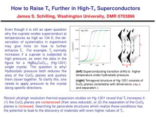 (left)  Superconducting transition shifts to  higher temperature under hydrostatic pressure.