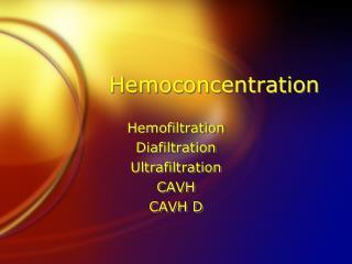 Hemoconcentration