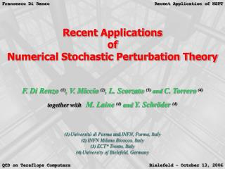 Recent Applications of Numerical Stochastic Perturbation Theory