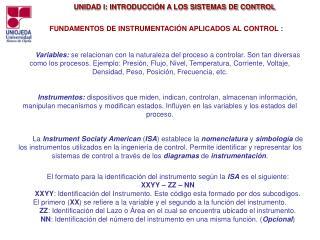 FUNDAMENTOS DE INSTRUMENTACIÓN APLICADOS AL CONTROL :