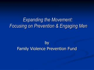 Expanding the Movement:   Focusing on Prevention & Engaging Men