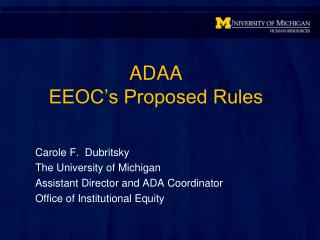 ADAA EEOC's Proposed Rules