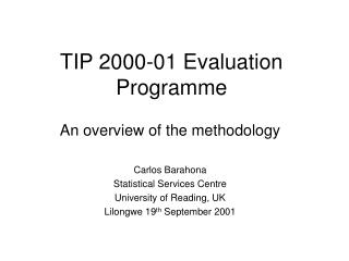 TIP 2000-01 Evaluation Programme