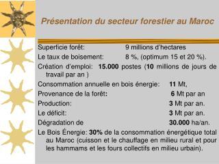 Présentation du secteur forestier au Maroc