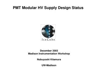PMT Modular HV Supply Design Status