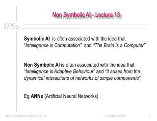 Non Symbolic AI - Lecture 13