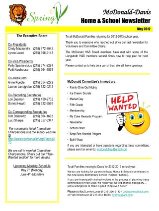 McDonald-Davis Home & School Newsletter