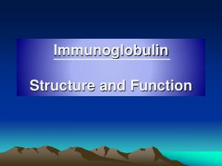 Immunoglobulin Structure and Function