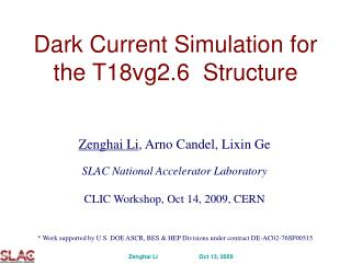 Dark Current Simulation for the T18vg2.6  Structure