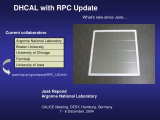 DHCAL with RPC Update