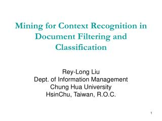 Mining for Context Recognition in Document Filtering and Classification