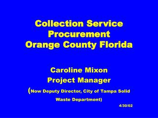 Collection Service Procurement Orange County Florida