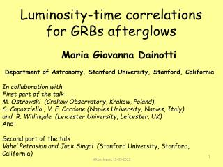 Luminosity-time correlations for GRBs afterglows