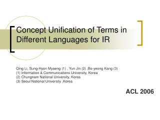 Concept Unification of Terms in Different Languages for IR