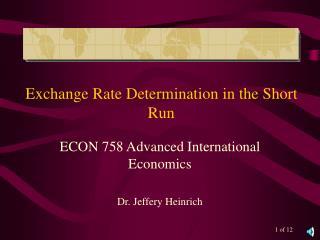 Exchange Rate Determination in the Short Run