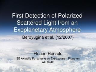 Florian Herzele SE Aktuelle Forschung zu Extrasolaren Planeten WS 07/08