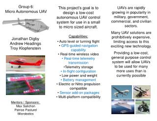 Group 6:                Micro Autonomous UAV