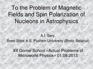 To the Problem of Magnetic Fields and Spin Polarization of Nucleons in Astrophysics