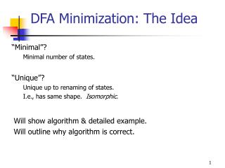 DFA Minimization: The Idea