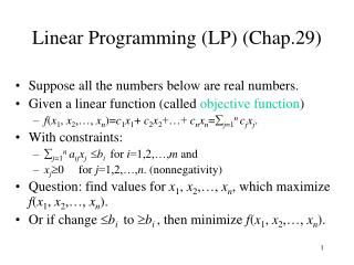 Linear Programming LP Chap.29