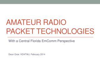 Amateur radio Packet technologies