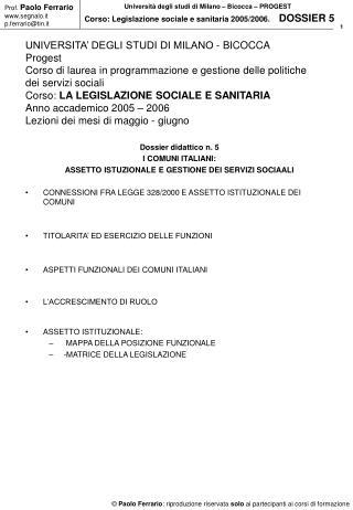 UNIVERSITA' DEGLI STUDI DI MILANO - BICOCCA Progest