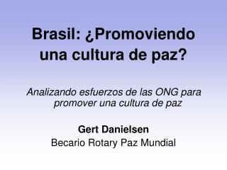 Brasil: �Promoviendo  una cultura de paz?