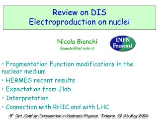 Review on DIS Electroproduction on nuclei
