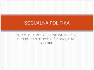 SOCIJALNA POLITIKA