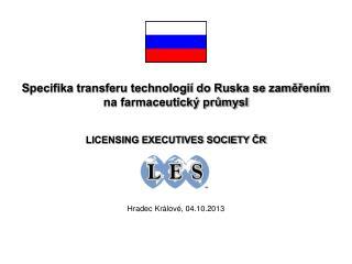 Specifika transferu technologií do Ruska se zaměřením na farmaceutický průmysl