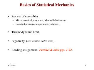 Basics of Statistical Mechanics