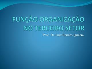 FUNÇÃO ORGANIZAÇÃO NO TERCEIRO SETOR