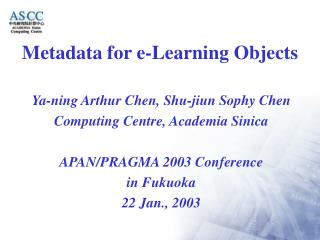Metadata for e-Learning Objects