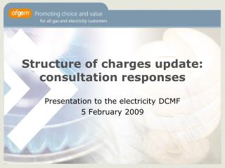 Structure of charges update: consultation responses
