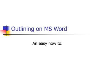 Outlining on MS Word