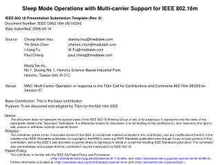 Sleep Mode Operations with Multi-carrier Support for IEEE 802.16m