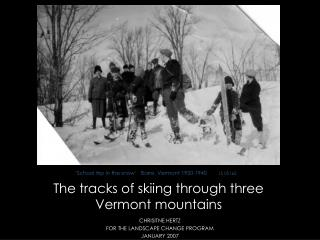 The tracks of skiing through three  Vermont mountains