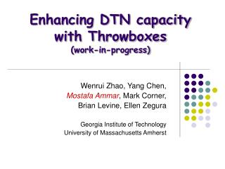 Enhancing DTN capacity  with Throwboxes (work-in-progress)