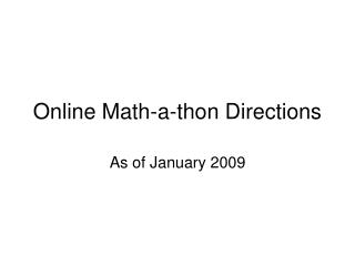 Online Math-a-thon Directions