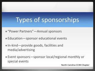 Types of sponsorships