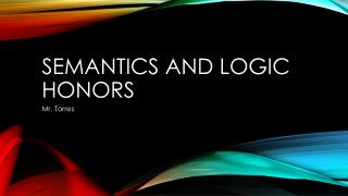 Semantics and logic honors