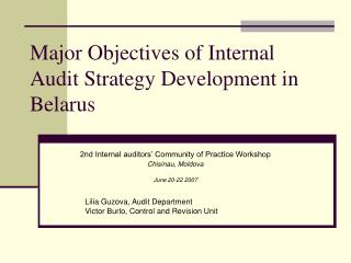 Major Objectives of Internal Audit Strategy Development in Belarus