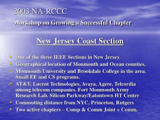 2003 NA-RCCC Workshop on Growing a Successful Chapter